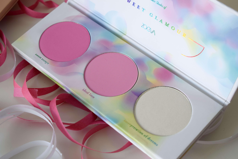 sweet glamour palette, zoeva, cheek palette, blush, highlighter