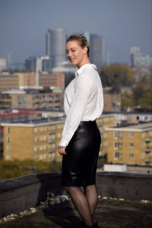 Mango black leather pencil skirt styled with a mango blouse