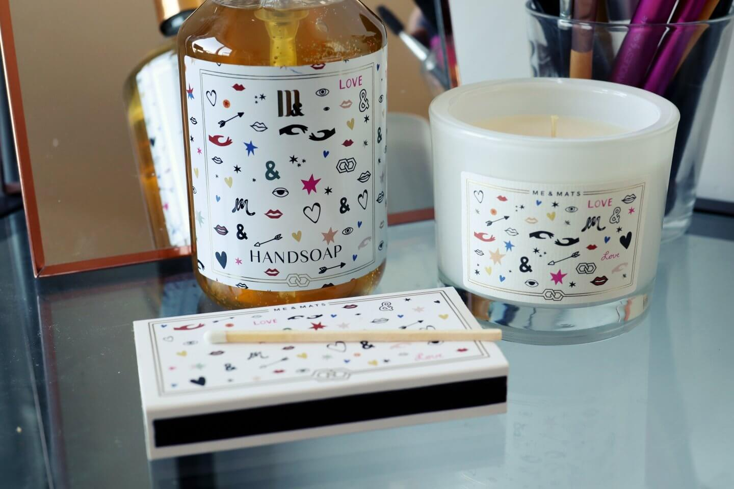 Me & Matts Vegan gifts: handsoap, scented candle and matches
