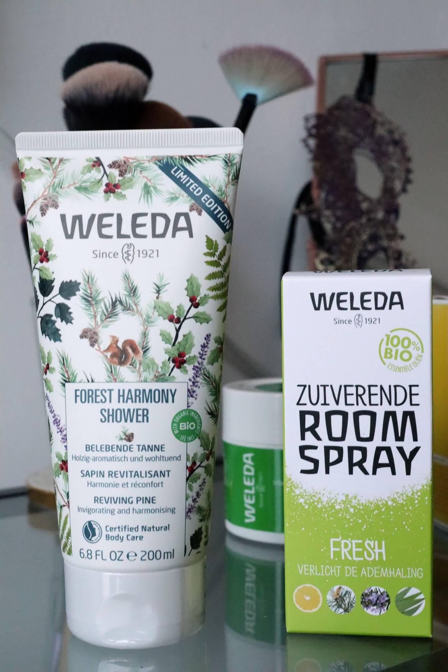 Weleda winter favourites of 2019. Room spray and weleda shower gel.