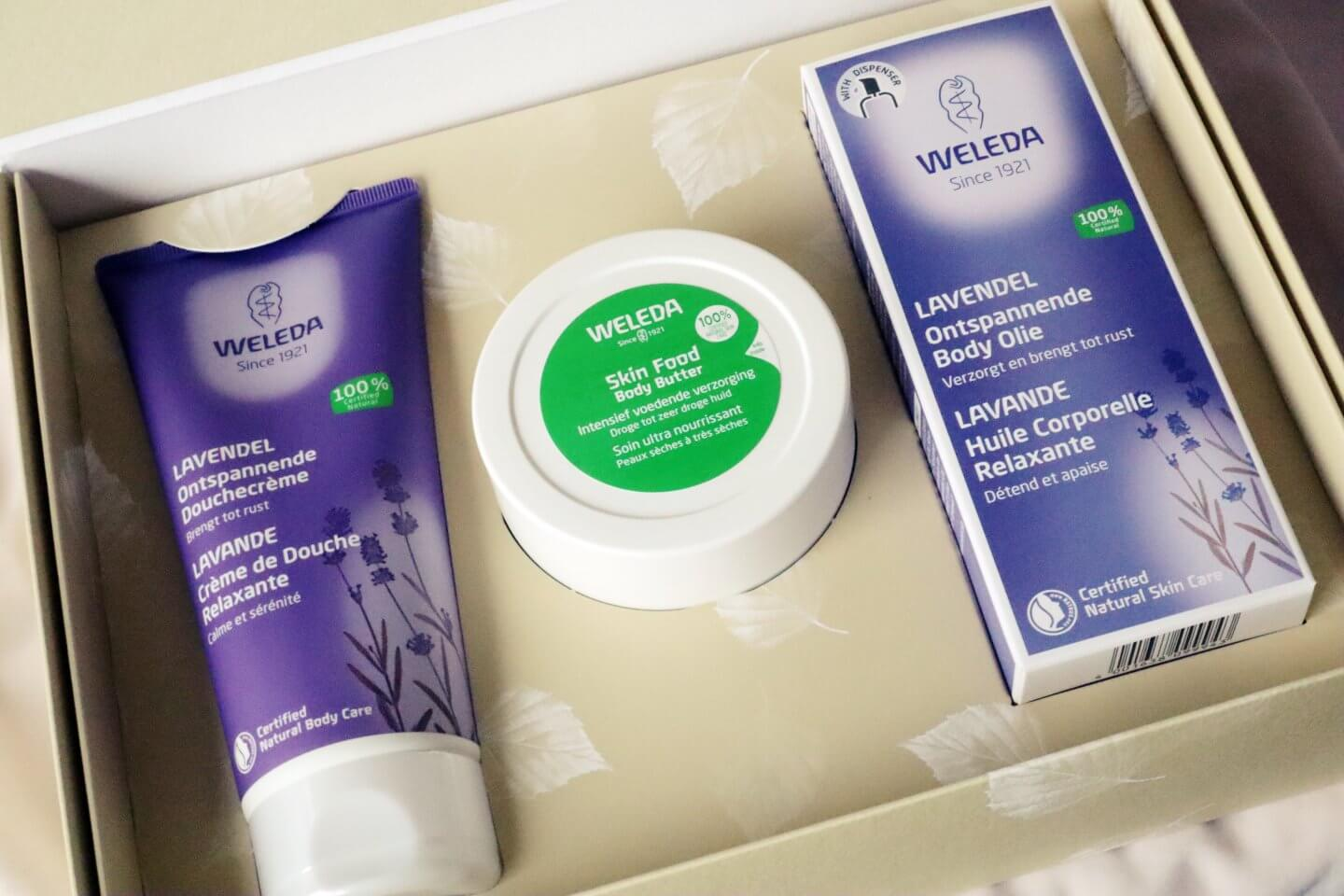 Beautiful Weleda Lavender and Skin Food giftset including shower gel, body butter and Body Oil.