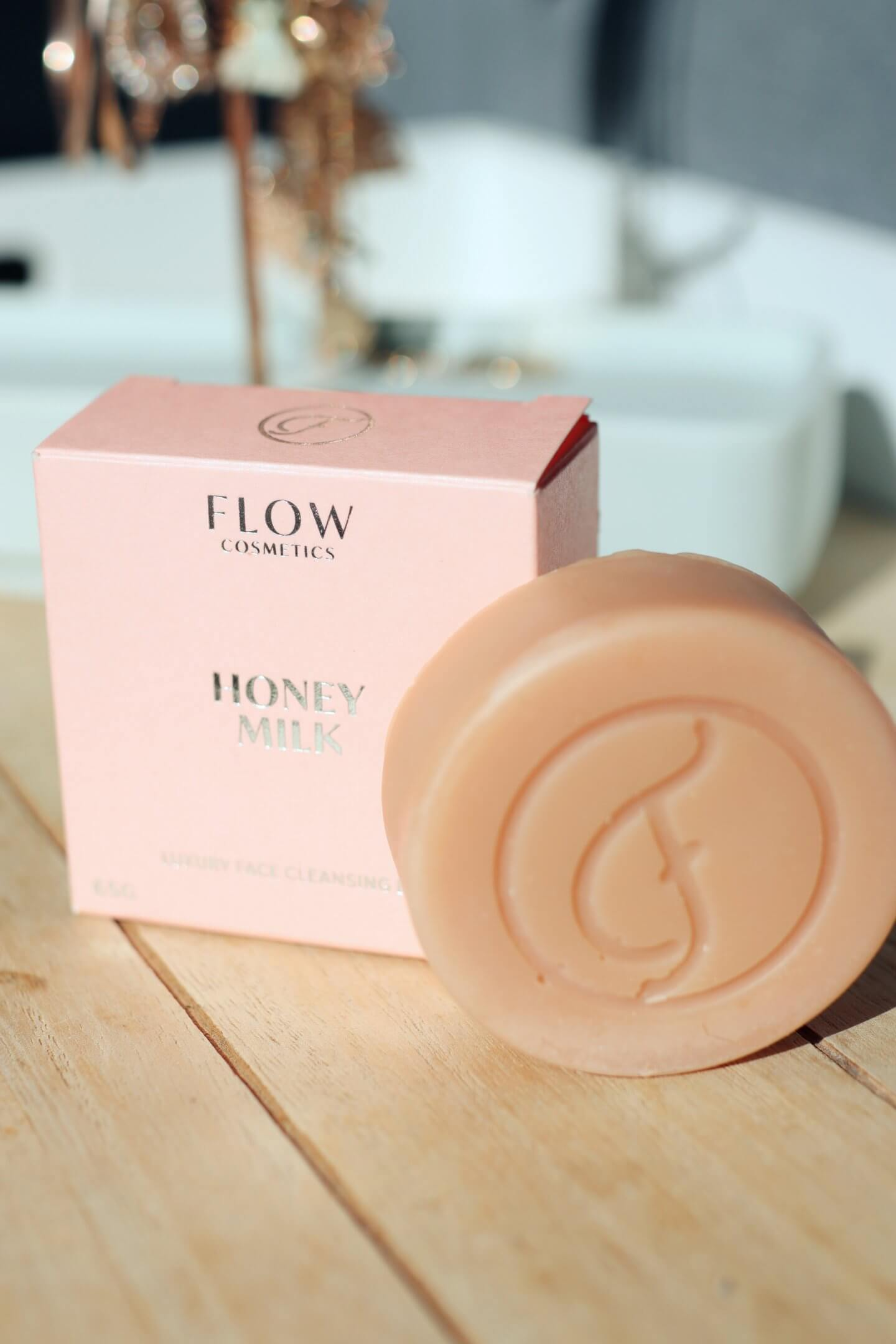 Flow cosmetics Natural cosmetics products, solid cleansing bar, rose water toner and bilberry moisturiser.